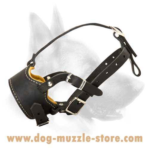 Easy To Adjust Leather Dog Muzzle With Open-Nose Form