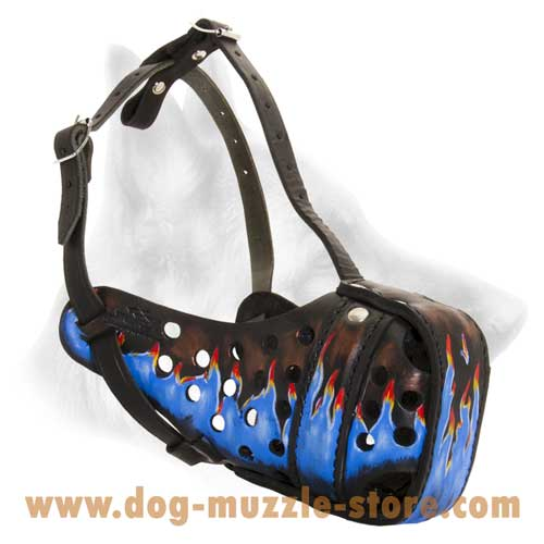 Leather Dog Muzzle With Special Holes For Ventilation